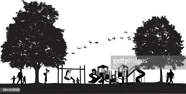 Busy Park Scene With Playground