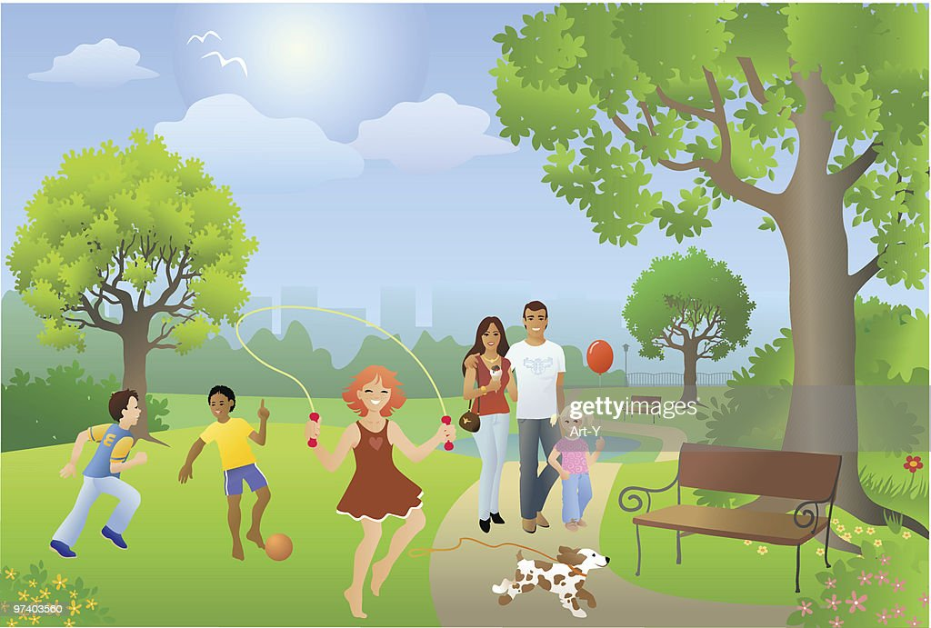 Busy Park Setting with People Playing on Sunny Day : stock illustration