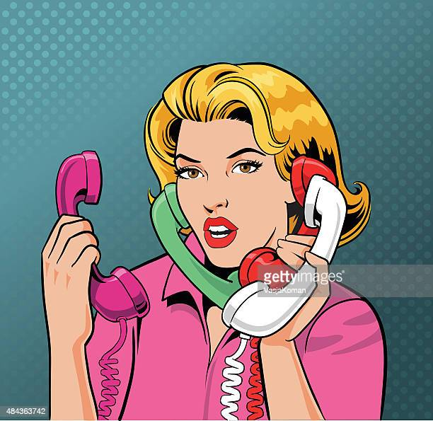 忙しいレトロなスタイルの女性 4 電話で話している