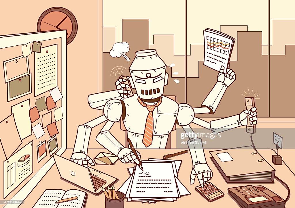 Busy Robot : stock illustration