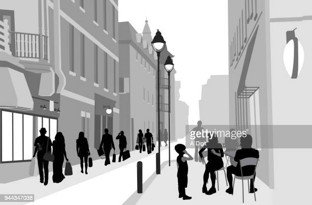 busy sidewalk cafe street - pedestrian stock illustrations, clip art, cartoons, & icons