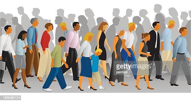 illustrations, cliparts, dessins animés et icônes de longue trottoir - personnes alignées