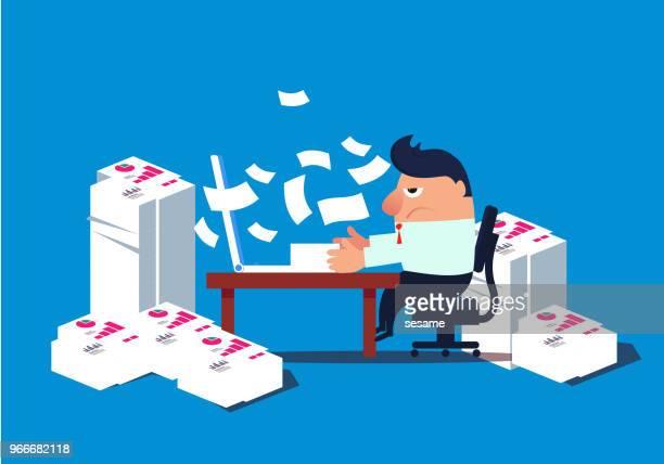illustrations, cliparts, dessins animés et icônes de occupé homme d'affaires de travail - crouler sous le travail
