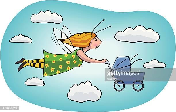 illustrations, cliparts, dessins animés et icônes de busybee maman-nourrice - assistante maternelle