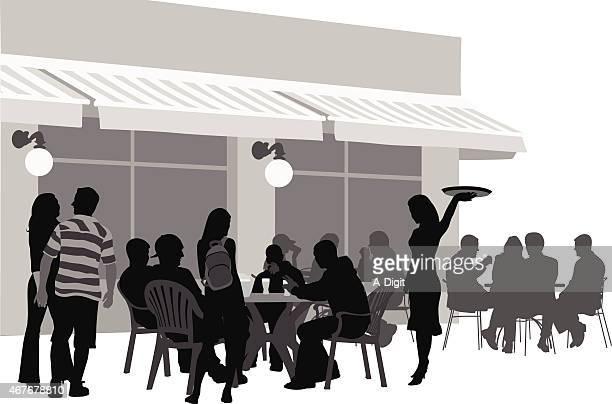 busyrestaurantterrace - awning stock illustrations, clip art, cartoons, & icons