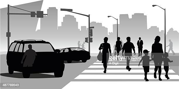 busysidewalks - pedestrian stock illustrations, clip art, cartoons, & icons