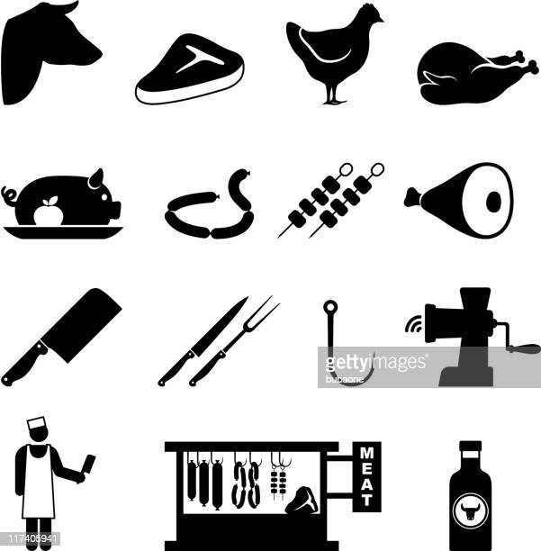 ilustraciones, imágenes clip art, dibujos animados e iconos de stock de carnicero tienda y carne de black & conjunto de iconos de vector blanco - chuletón