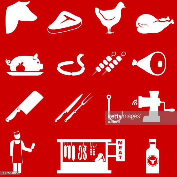 butcher and meat shop royalty free vector icon set