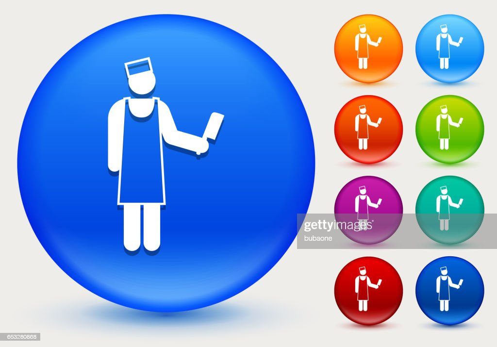 Butcher Icon on Shiny Color Circle Buttons : Vector Art