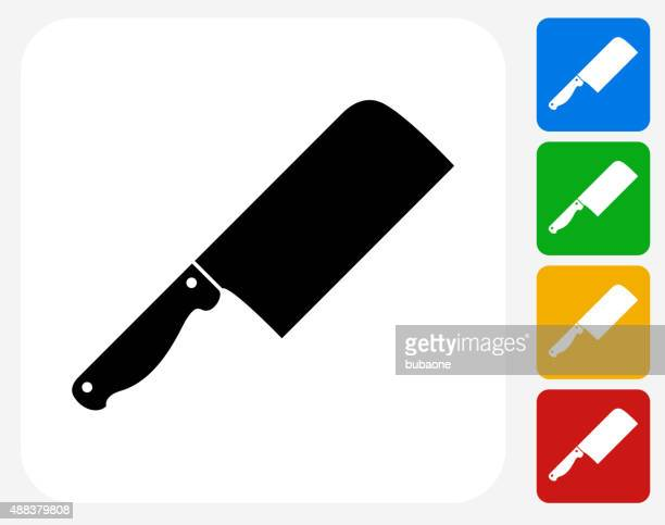 illustrations, cliparts, dessins animés et icônes de couteau de boucher icône à la conception graphique - boucherie