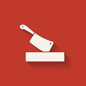 butcher knife in chopping board