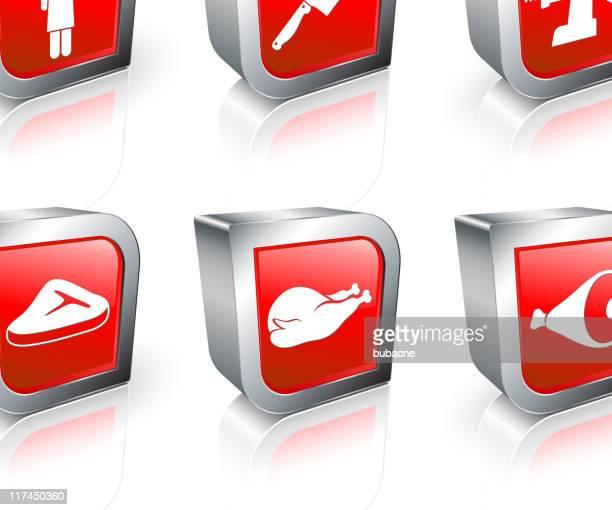 Butcher shop 3D royalty free vector icon set