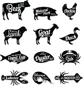 Butcher Shop and Seafood Shop Labels