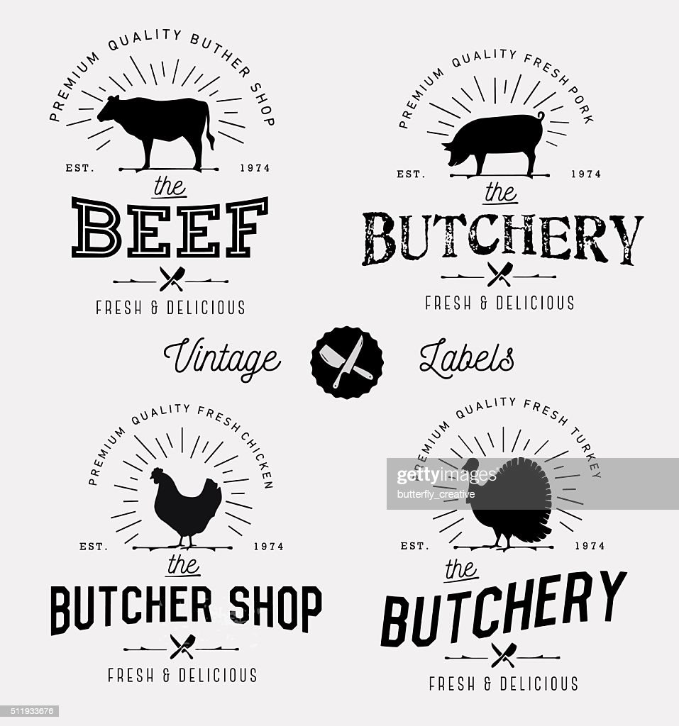Butcher Shop Design Elements, Labels and Badges in Vintage Style