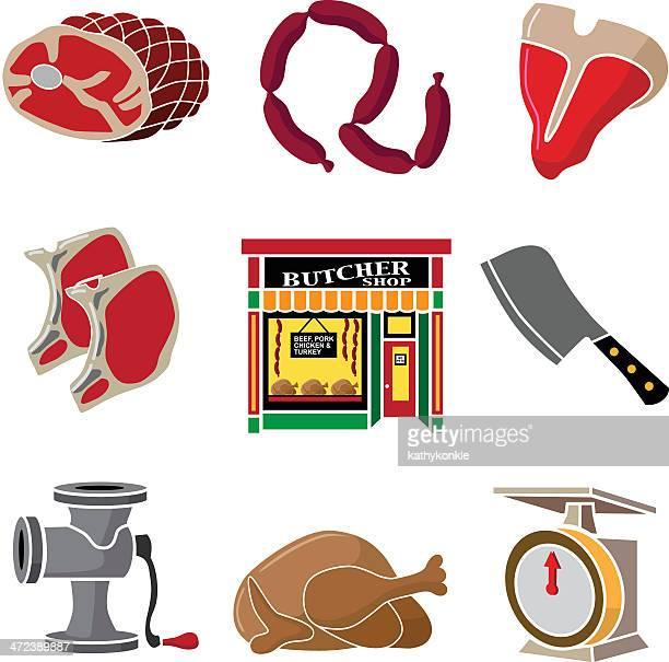 illustrations, cliparts, dessins animés et icônes de butcher shop éléments de design - boucherie