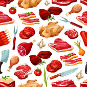Butcher shop farm meat products pattern