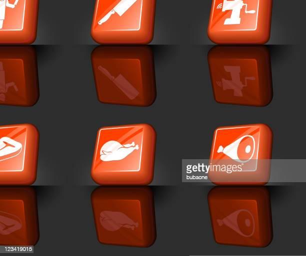 Butcher shop internet royalty free vector icon set
