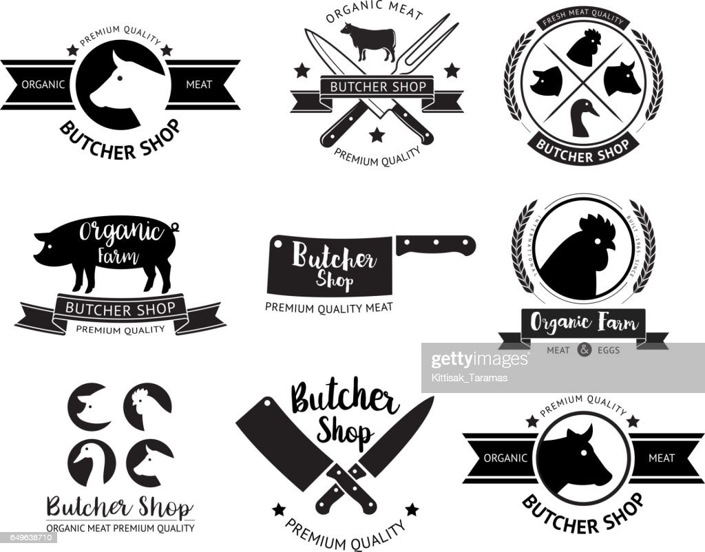 Butcher shop logo and label.