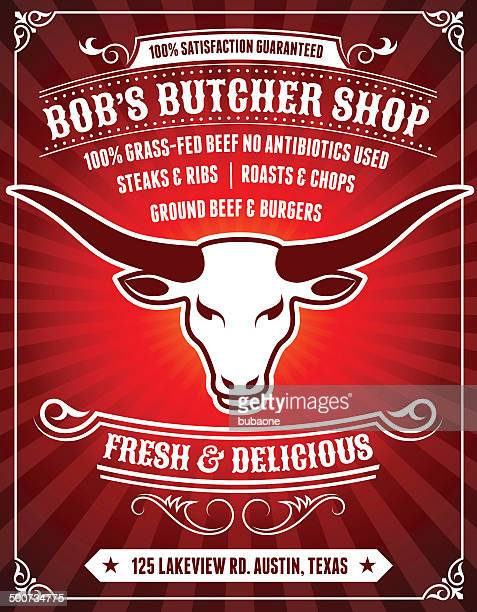butcher shop poster on red background - t bone steak stock illustrations, clip art, cartoons, & icons