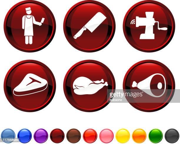 Butcher shop royalty free vector icon set