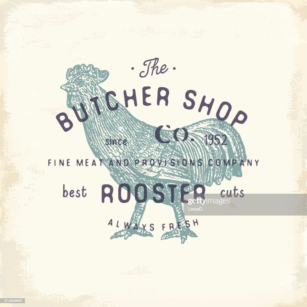 Butcher Shop vintage emblem rooster meat products, butchery Logo template retro style. Vintage Design for Logotype, Label, Badge and brand design. vector illustration