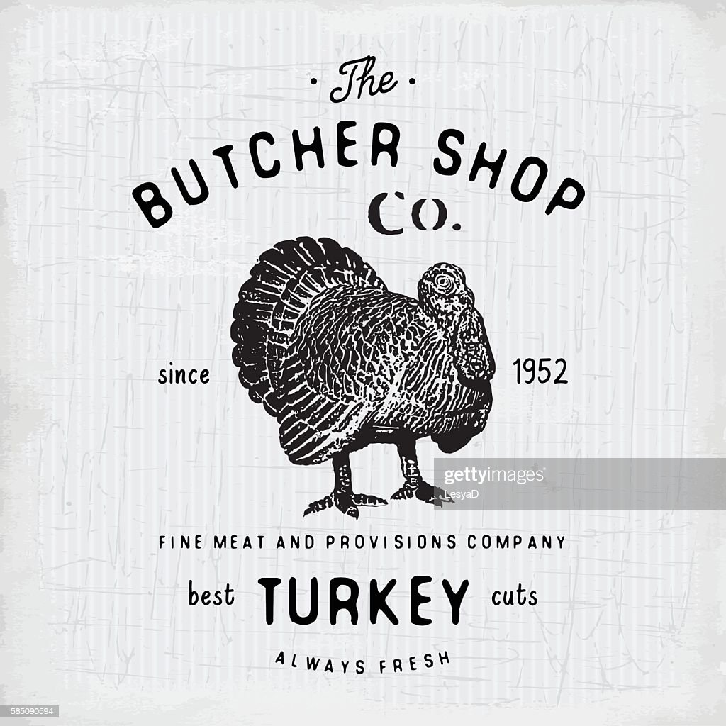 Butcher Shop vintage emblem turkey meat products, butchery Label. vector