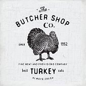 Butcher Shop vintage emblem turkey meat products, butchery Label. vector