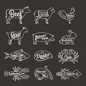 Butchery and Seafood Shop Labels. Vector Farm Animals and Seafood