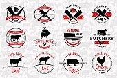 Butchery Labels, and Design Elements. Farm Animals Silhouettes and Icons