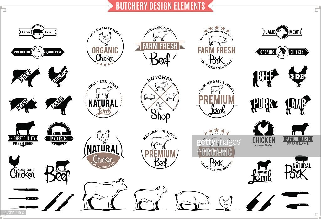 Butchery Logos, Labels, Charts and Design Element