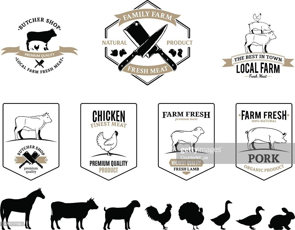 Vector Line Art Animals : Butchery logos labels farm animals and design elements vector art