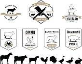 Butchery Logos, Labels, Farm Animals and Design Elements