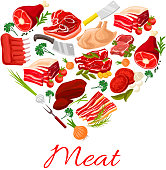 Butchery meat products vector poster
