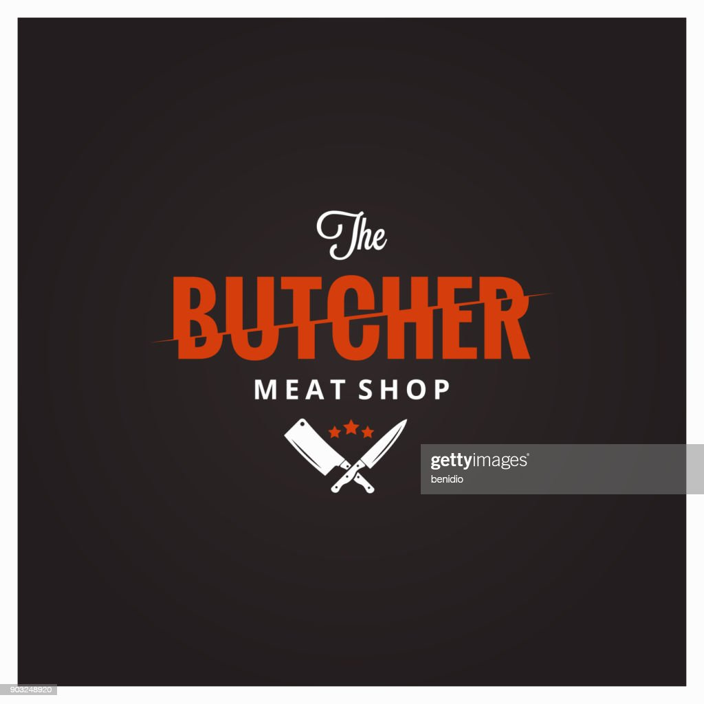 Butchery symbol. Butcher meat shop with knife and cleaver