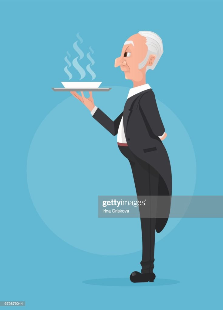 Butler in black tuxedo holding tray with soup dish