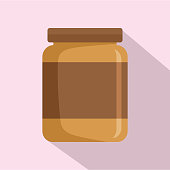 Butter jar icon, flat style