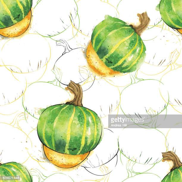 buttercup squash watercolor vector seamless pattern - buttercup stock illustrations, clip art, cartoons, & icons