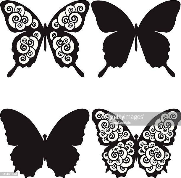 butterflies and spirals sihouettes. - swallowtail butterfly stock illustrations