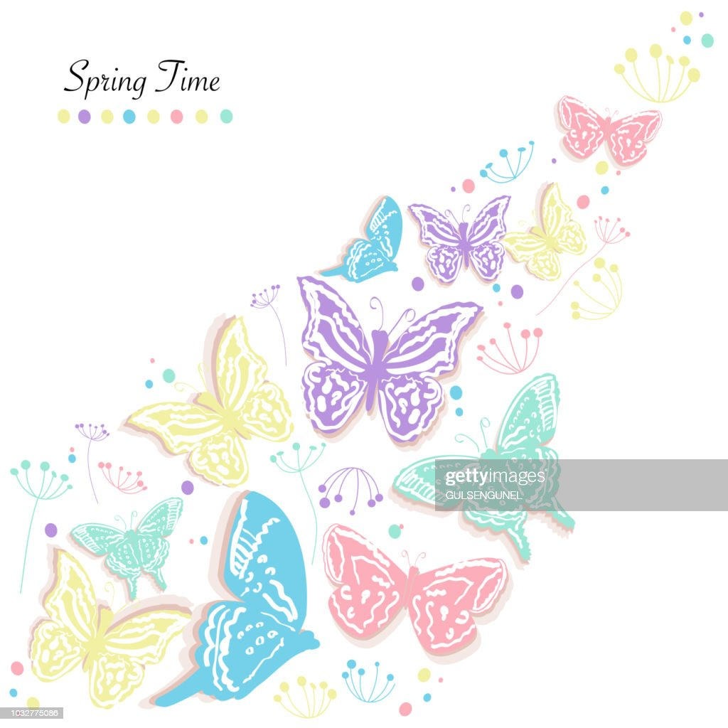 Butterflies design and abstract flowers spring time greeting card