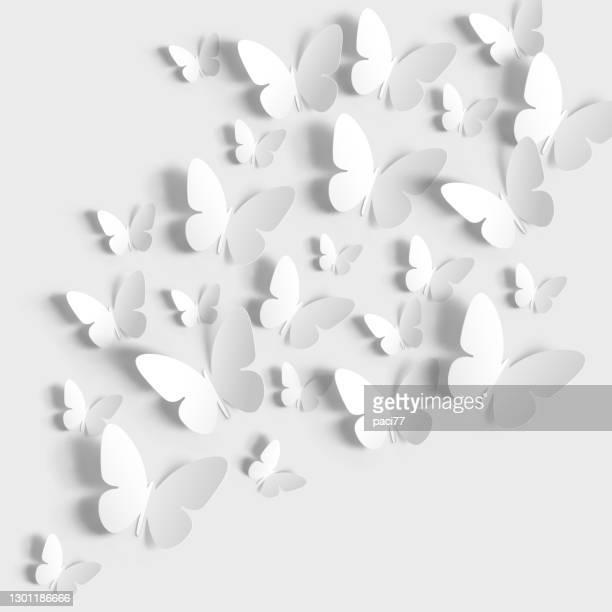 schmetterlinge papier auf weißem hintergrund geschnitten. - schmetterling stock-grafiken, -clipart, -cartoons und -symbole