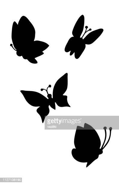 ilustrações, clipart, desenhos animados e ícones de silhueta de borboletas desenho preto e branco - lepidóptero