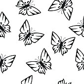 Butterflies Silhouettes Seamless Texture