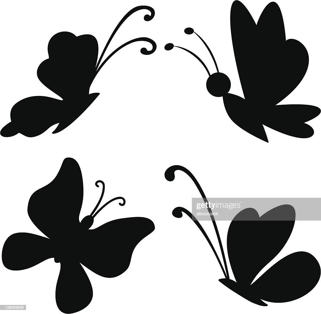 Butterflies, silhouettes