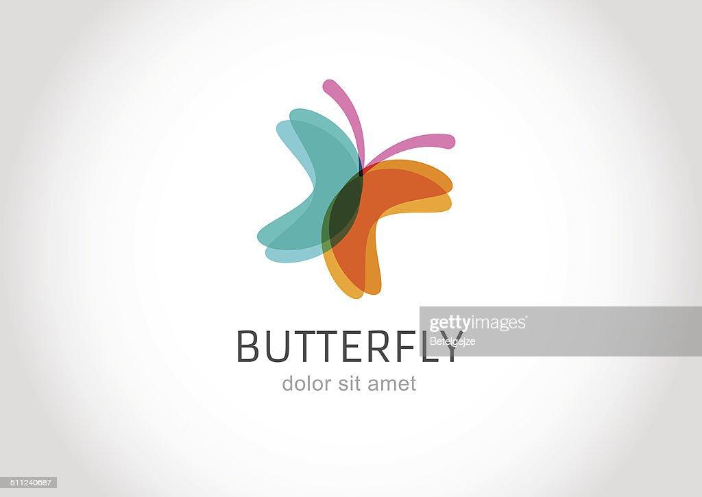 Butterfly abstract vector logo design template