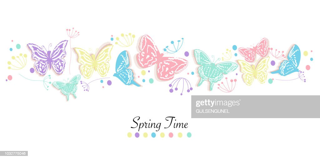 Butterfly and flowers abstract decorative spring time greeting card