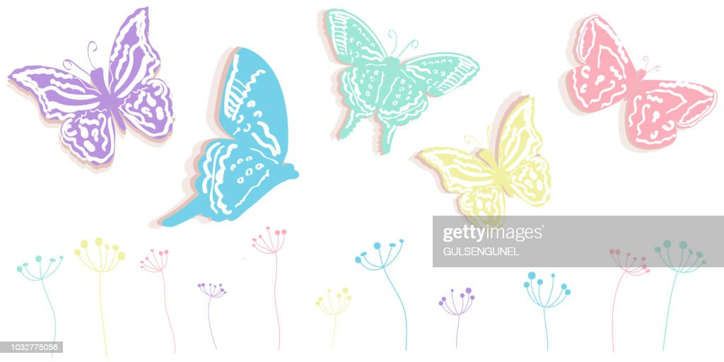 Butterfly and flowers abstract spring time banner