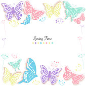 Butterfly and flowers abstract spring time greeting card