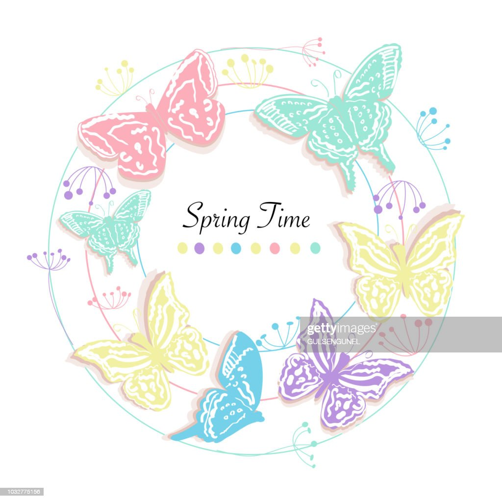 Butterfly and flowers circle abstract spring time greeting card