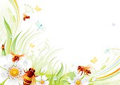 Butterfly background with copyspace: bees and wild roses