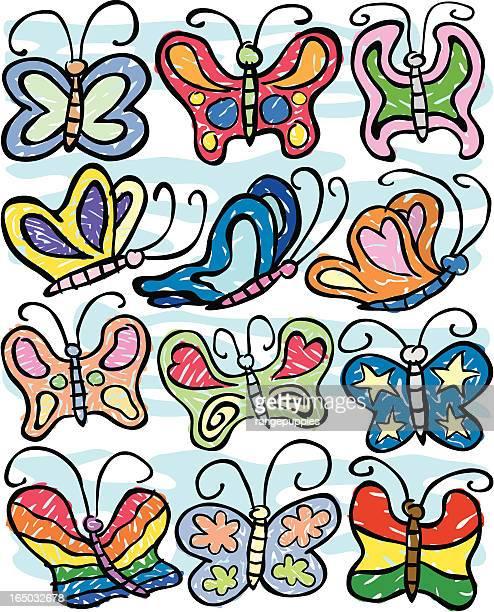 ilustraciones, imágenes clip art, dibujos animados e iconos de stock de mariposa diluvio - grupo grande de animales